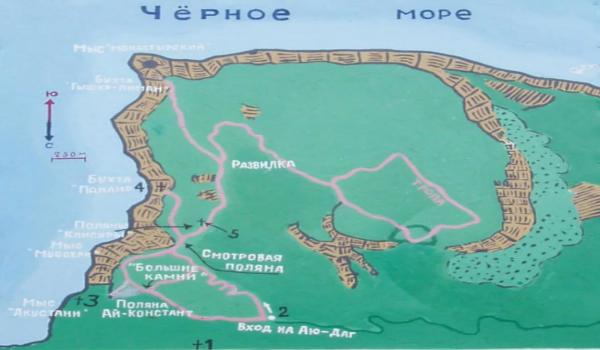 Схема троп на Аю-даг