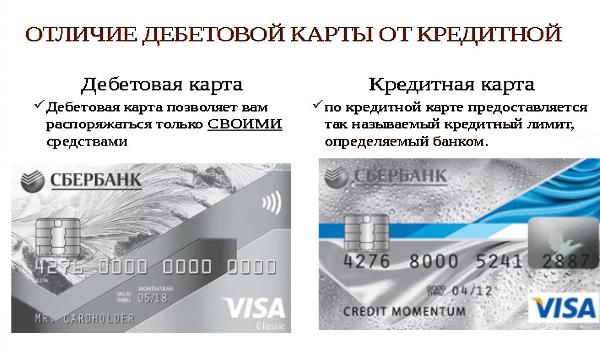 Разница между дебетовой и кредитной картой Сбербанка
